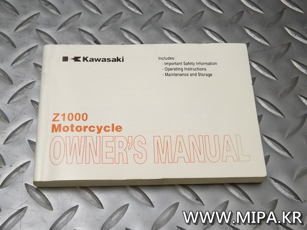 카와사키 KAWASAKI Z1000  순정 OWNER'S MANUAL ENGLISH 99ID:Ae042000001